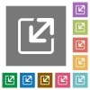Resize element square flat icons - Resize element flat icon set on color square background.