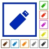 Pendrive framed flat icons - Set of color square framed pendrive flat icons on white background