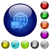Color international transport glass buttons - Set of color international transport glass web buttons.