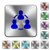 Steel online users buttons - Engraved online users icons on rounded square steel buttons