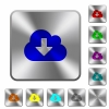 Steel cloud download buttons - Engraved cloud download icons on rounded square steel buttons