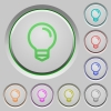 Light bulb push buttons - Set of color light bulb sunk push buttons.