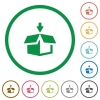Pack outlined flat icons - Set of pack color round outlined flat icons on white background