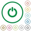 Set of Power switch color round outlined flat icons on white background - Power switch outlined flat icons