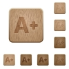 Set of carved wooden Increase font size buttons in 8 variations. - Increase font size wooden buttons