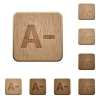 Decrease font size wooden buttons - Set of carved wooden Decrease font size buttons in 8 variations.