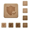 Protection ok wooden buttons - Set of carved wooden protection ok buttons in 8 variations.