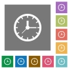 Clock square flat icons - clock flat icon set on color square background.