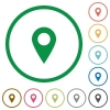 Location pin outlined flat icons - Set of location pin color round outlined flat icons on white background