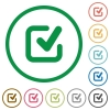 Checkmark outlined flat icons - Set of checkmark color round outlined flat icons on white background