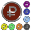 Color ruble sign buttons - Set of color glossy coin-like ruble sign buttons.