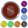 Color fingerprint buttons - Set of color glossy coin-like fingerprint buttons.