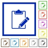 Notepad framed flat icons - Set of color square framed notepad flat icons on white background