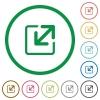Resize window outlined flat icons - Set of resize window color round outlined flat icons on white background