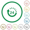 Set of One day delivery color round outlined flat icons on white background - One day delivery outlined flat icons