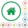 Home outlined flat icons - Set of home color round outlined flat icons on white background
