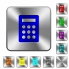Steel calculator buttons - Engraved calculator icons on rounded square steel buttons