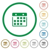 Hanging calendar outlined flat icons - Set of Hanging calendar color round outlined flat icons on white background