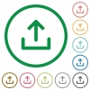 Set of upload color round outlined flat icons on white background - Upload outlined flat icons