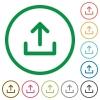 Upload outlined flat icons - Set of upload color round outlined flat icons on white background