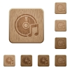 Audio CD wooden buttons - Set of carved wooden Audio CD buttons in 8 variations.