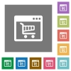 Webshop square flat icons - Webshop flat icon set on color square background.