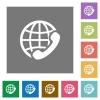 International call square flat icons - International call flat icon set on color square background.