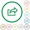 Export outlined flat icons - Set of export color round outlined flat icons on white background