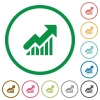 Rising graph outlined flat icons - Set of Rising graph color round outlined flat icons on white background