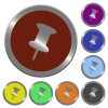 Color push pin buttons - Set of color glossy coin-like push pin buttons.
