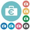 Flat euro bag icons - Flat euro bag icon set on round color background.