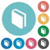 Flat book icons - Flat book icon set on round color background.