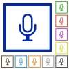 Microphone framed flat icons - Set of color square framed microphone flat icons on white background