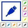 Set of color square framed USB plug flat icons on white background - USB plug framed flat icons