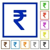 Indian rupee sign framed flat icons - Set of color square framed Indian rupee sign flat icons on white background