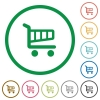 Shopping cart outlined flat icons - Set of Shopping cart color round outlined flat icons on white background
