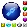 Color vector pen glass buttons - Set of color vector pen glass web buttons.