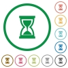 Hourglass outlined flat icons - Set of hourglass color round outlined flat icons on white background