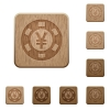 Set of carved wooden Yen casino chip buttons in 8 variations. - Yen casino chip wooden buttons