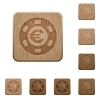 Set of carved wooden Euro casino chip buttons in 8 variations. - Euro casino chip wooden buttons