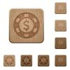 Dollar casino chip wooden buttons - Set of carved wooden Dollar casino chip buttons in 8 variations.