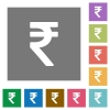 Indian Rupee sign square flat icons - Indian Rupee sign flat icon set on color square background.