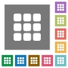Small grid view square flat icons - Small grid view flat icon set on color square background.