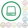 Hard disk drive outlined flat icons - Set of Hard disk drive color round outlined flat icons on white background