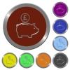 Color pound piggy bank buttons - Set of color glossy coin-like pound piggy bank buttons.