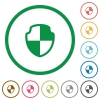 Shield outlined flat icons - Set of shield color round outlined flat icons on white background