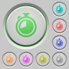 Set of color timer sunk push buttons. - Timer push buttons
