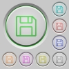 Save push buttons - Set of color save sunk push buttons.