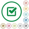 Checkbox outlined flat icons - Set of checkbox color round outlined flat icons on white background