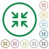 Minimize outlined flat icons - Set of minimize color round outlined flat icons on white background